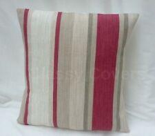 Laura Ashley Designer Cushion Cover AWNING STRIPE Lichen/Raspberry Various Sizes