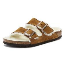 Birkenstock Arizona Shearling Womens Mink Brown Sandals Slip On Casual