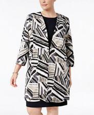 Kasper Plus Size Abstract-Print Ottoman Jacket CLAY MULTI COLOUR Orig. $139.00