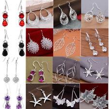 18style Women Fashion 925sliver Stamped Earring Rhinestone Zircon Dangle Jewelry