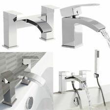 Sickle Spout Bathroom Taps Set Basin Bath Filler Tap and Bath Shower Mixers Head