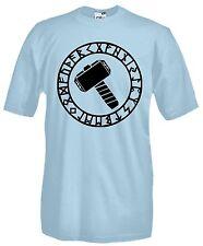 T-shirt Maglietta J669 Martello Thor Rune Viking Fantasy Maglia Cotone 100%