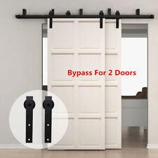 4-20FT Bypass Brackets Sliding Barn Wood Door Hardware Closet Kit Wall Mount USA