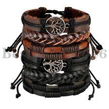6pc Hanf Schnüre Wood Bead ethnische Tribal Baum des Lebens Armband Lederarmband