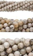 Bulk Lot of 10, 16 inch Strands Round Grey Feldspar Natural Gemstone Stone Beads