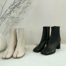 Fashion Womens Tabi Split Toe High Block Heel Real Leather Booties Ankle Bootssz