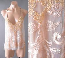 Sequin Beaded Sheer Embroidered Beige Sleeveless Strap Handmade Evening Top SML