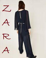 ZARA Pleated Navy Blue Jumpsuit New (RT$100)Long Sleeve Gold Metal Belt Size S M