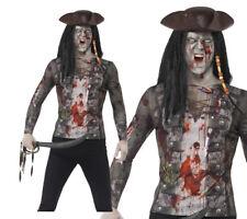 Hommes Pirate Zombie T-Shirt Accessoire Déguisement Halloween M,L