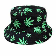 7555d4d78394f Rasta Kush Cannabis Weed Leaf Bucket Hat Cap Jamaica Reggae 1 size Fit  Braces