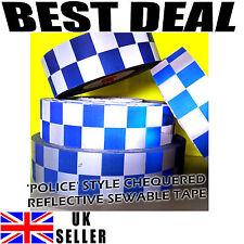 REFLECTANTE PLATEADO impresión azul cinta de verificación Chequer policía cose en 50mm Hi Viz Seguridad