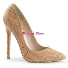 Sexy DECOLTE' tacco 13 dal 35 al 44 color SUGHERO scarpe donna fashion GLAMOUR