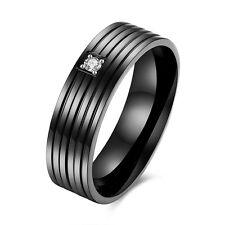 Stainless Steel Band Fashion Wedding Ring Black AAA Zirconia Men's Unisex B471