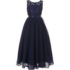 Elegant Navy Blue Sleeveless Lace Bodice Chiffon Skirt Formal Maxi Girl Dresses