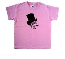 Miedo Calavera Halloween Rosa Niños Camiseta