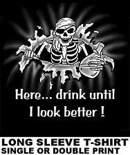HERE, DRINK UNTIL I LOOK BETTER PIRATE CARIBBEAN SKULL SWORD SKELETON T-SHIRT 16