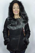 Dark Brown Genuine Toscana Sheepskin Shearling Leather Hood Jacket Coat XS-5XL