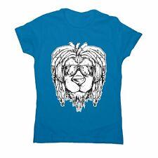 Rasta lion - women's funny illustrations t-shirt