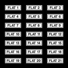 Plana Números 1 - 21 señal, etiqueta engomada - 190 Mm X 60 Mm-todos los materiales