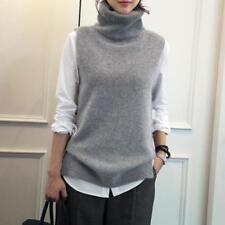 Womens Turtleneck Sleeveless Cashmere Sweater Knitted Jumper Vest Knitwear Warm