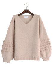Fur trimming embellished sleeves knitted jumper V neck black beige pink color