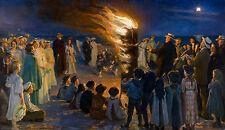 P.S. Krøyer - Midsummer Eve Bonfire on Skagen's Beach, Art Poster, Canvas Print