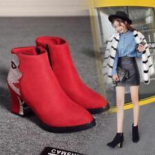 Womens Mid Heels Ankle Zipper Shoes New Winter Platform short Boots Plus Size