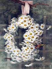 Flowers Wreath of Daisies Birds P. Longpre Tile Mural Kitchen Backsplash Ceramic