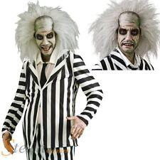 Mens Beetlejuice Ghost Halloween Adult 80s Fancy Dress Costume + Wig + Make Up