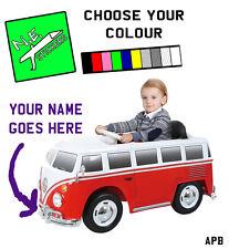 PERSONALISED number plate for kids ELECTRIC 6V Volkswagen VW Camper Van ride on