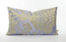 Luxury Designer Lilac Silk Contemporary Floral Lumbar Cushions Pillow Throw