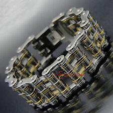 Men's Stainless Steel Motorcycle Bike Chain Biker Bracelet 27mm Silver/Gold