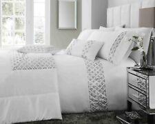 Darcy Collection Luxury White Diamond Sequin Sparkle Faux Silk Bedding Duvet Set