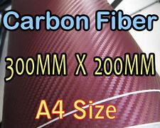 3D CARBON FIBER Maroon Vinyl Wrap Sheet Sticker A4 200*300mm