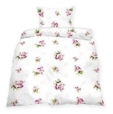 Bettwäsche 2 teilig Weiß mit Rosen Muster Baumwolle 135x200 / 155x220 + 80x80