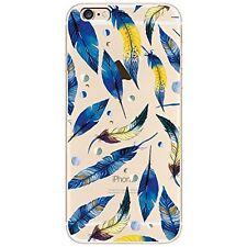"""Coque Gel Souple solide  fantaisie pour Apple iPhone 7 (4,7"""") - Plumes Bleues"""