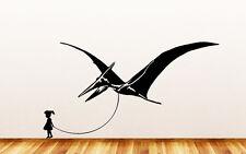 "WALL- Pet Dinosaur Pterodactyl w Boy/Girl- Vinyl Wall Decal  ©YYDC (36""W x 20""H)"