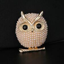 Hot Big Eye Owl Wedding Bouquet Pearl DIY Brooch Pins Women Lady Fashion Jewelry