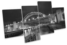 Newcastle Tyne Bridge Quayside B/&W CANVAS WALL ART MULTI Panel Print Box Frame