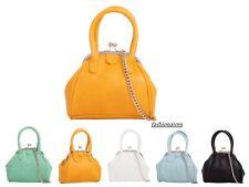 Women Plain Faux Leather Clutch Bag Top Handle Chain Evening Bag Party Handbag
