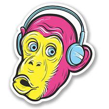 2 x Monkey Headphones Sticker Car Bike iPad Laptop Kids Skateboard Funny #4133