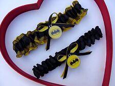 New Handmade Batman Wedding Garter Yellow Black Prom Superhero