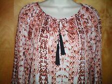 NWT womens size XS S M L orange blk white snakeskin DANA BUCHMAN keyhole shirt