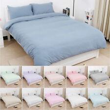 Washed Cotton Duvet Cover Sets Zipper Closure Bedding Set 11 Colors All Sizes