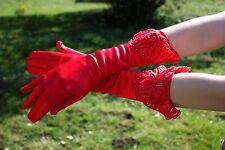 Gants Mi Longs en Satin à Perles (Rouge, Blanc) Mariage Opéra