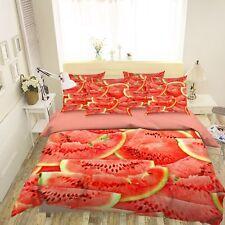 3D Red Watermelon 4 Bed Pillowcases Quilt Duvet Cover Set Single Queen US