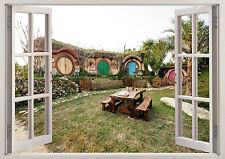 Cottage Naturaleza Escena Hobbit Casa 3D Efecto Póster De Vinilo Pegatina de ventana de visualización 387