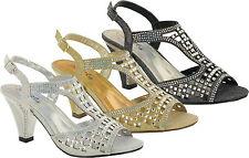 Womens Ladies Sparkling Diamante Block Heel Party Shoes Buckle Up Sandals
