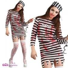 Ladies Zombie Convict Costume Womens Halloween Prisoner Jail Horror Fancy Dress