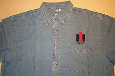 Mens IH-International Harvester Logo Embroidered Denim Shirt with Pocket